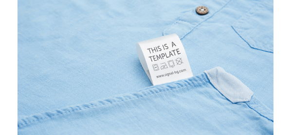 PSD Mockup of Printed Fabric Care Label