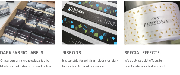 Products printed on screen print