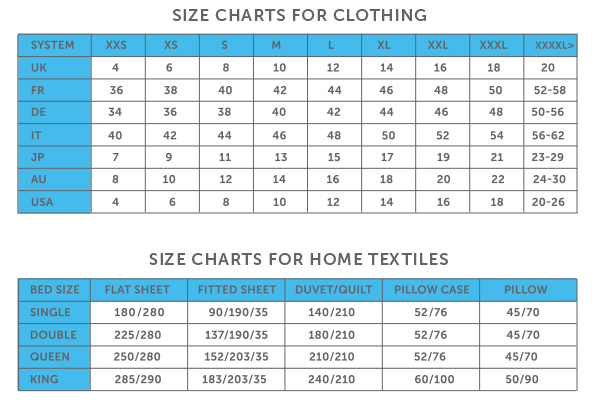 Size charts for clothing and home textiles
