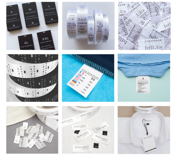 Printed Size Labels for Clothing Supplier