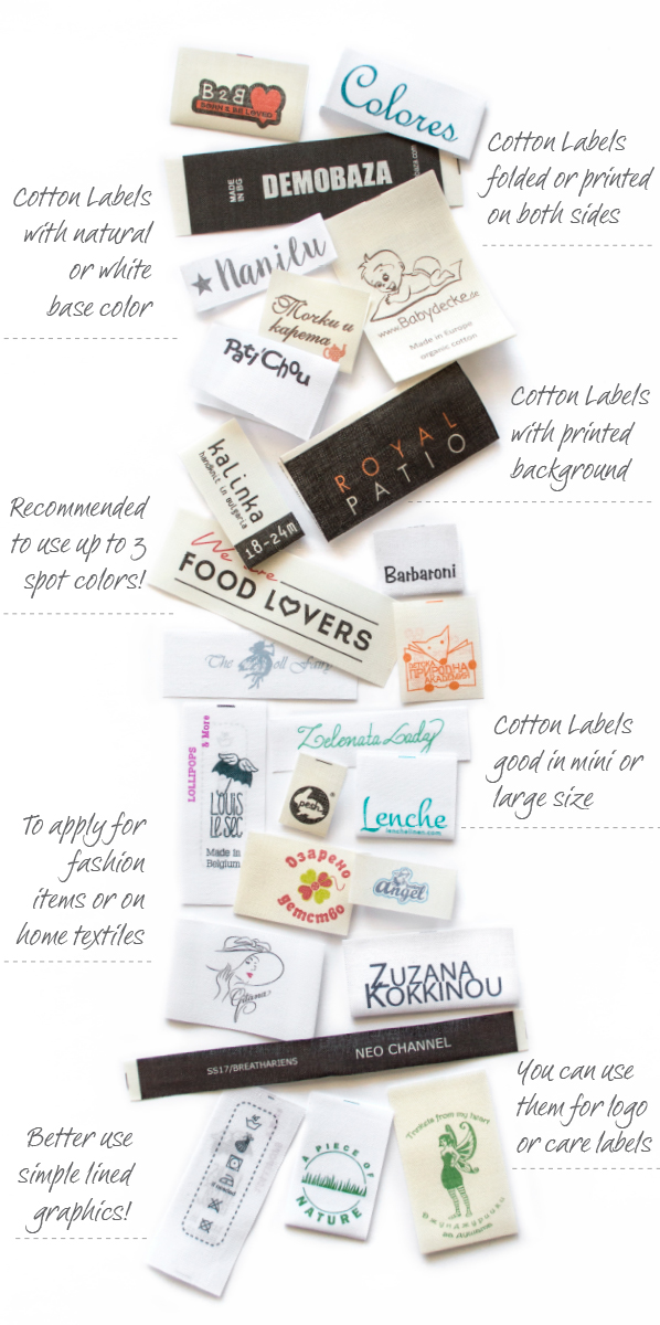 Cotton labels printed in europe