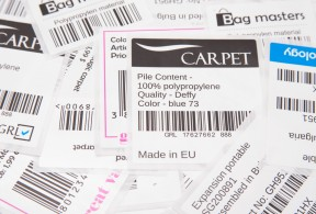 Polypropylene labels on white backing