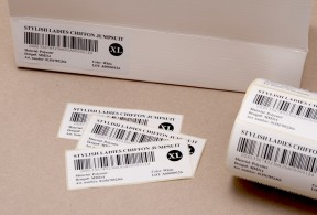 Size labels with barcodes